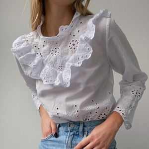 Tops - Poplin Blouse with Frills and Embroidery